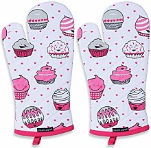 AMOUR INFINI Set of 2 Oven Mitts Cup Cake   18 x