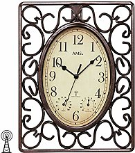 AMS 5976 Radio-Controlled Wall Clock Brown Square