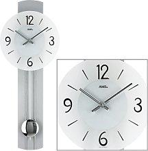 AMS 7275 Wall Clock with Pendulum Quartz Wooden