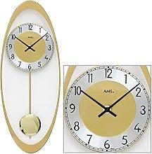 AMS 7417 Quartz Wall Clock with Pendulum Brass