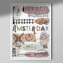 Amsterdam Art Print - Map Wall Art | Travel Poster