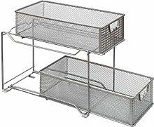 Amtido 2-Tier Sliding Basket Cabinet Organizer –