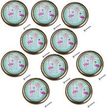 Amuzocity 10x Retro Flamingo Kitchen Cabinet Knob