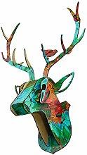 Amuzocity 3D Pre-Cut Wooden Deer Head Home Decor