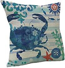 Amybria Cotton Linen Sea Animal Throw Pillow Case