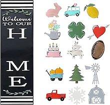 AMYC Interchangeable Door Sign Rectangle Seasonal