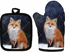Amzbeauty Fox Oven Mitts - Heat Resistant Handle