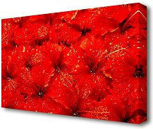 An Ocean Of Red Leaves Flowers Canvas Print Wall
