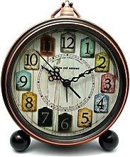 Analog alarm clock, vintage silent alarm clock
