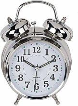Analogue Quartz Alarm Clock Metal Chrome Colours