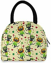 Anantyy Cute Black Cat Lucky Clover Lunch Bag