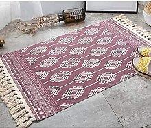 ANBAI Cotton Area Rug Modern Geometric Pattern