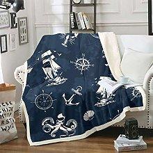 Anchor Decor Fuzzy Blanket Nautical Theme Throw