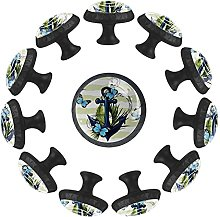 Anchor with Butterfly 12PCS Round Drawer Knob Pull