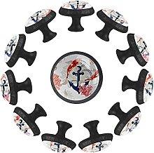 Anchor with Carp Fish 12PCS Round Drawer Knob Pull