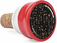 Ancient Egyptian Hieroglyphs Black Gold Wine Cork