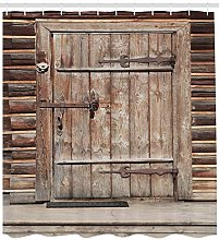 Ancient timber door rustic High-definition printed