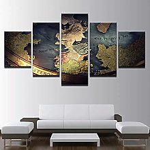 Ancient World Map Wall Painting Print on Canvas