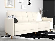 Andora Leather Sprung Sofa Bed In White With
