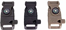 Andouy 3PC Compass Fire Starter Whistle Buckle 5/8