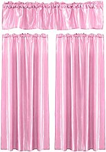 Andouy 3Pcs Pure Color Kitchen Home Curtain With