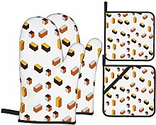 AndrewTop Oven Mitts and Potholders 4pcs Sets,Dark