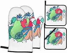 AndrewTop Oven Mitts and Potholders 4pcs Sets,Girl