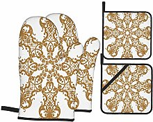 AndrewTop Oven Mitts and Potholders 4pcs Sets,Gold