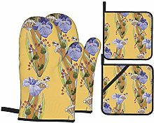 AndrewTop Oven Mitts and Potholders 4pcs Sets,Iris