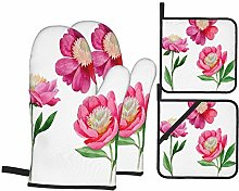 AndrewTop Oven Mitts and Potholders 4pcs Sets,Pink
