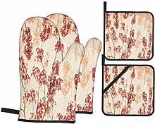 AndrewTop Oven Mitts and Potholders 4pcs Sets,Red
