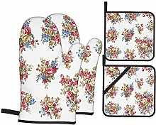 AndrewTop Oven Mitts and Potholders 4pcs Sets,Rose