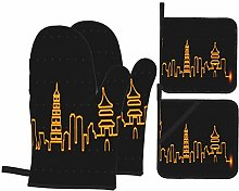AndrewTop Oven Mitts and Potholders 4pcs Sets,Xi