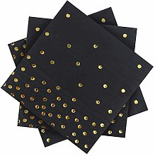 Aneco 120 Pack Black with Gold Dots Paper Napkins