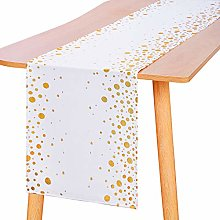 Aneco 2 Pieces White and Gold Dot Table Runners
