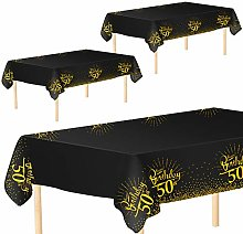 Aneco 3 Pack 50th Birthday Tablecloth Table Cloth