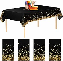 Aneco 4 Pack Black Dot Disposable Tablecloths