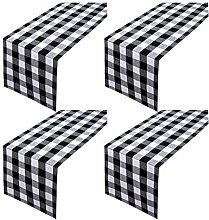 Aneco 4 Pack Checkered Table Runner Cotton Plaid