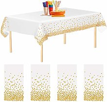 Aneco 4 Pack Gold Dot Disposable Tablecloths Table