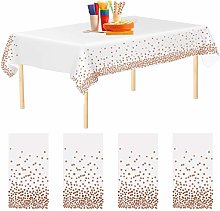 Aneco 4 Pack Rose Gold Dot Disposable Tablecloths