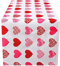 Aneco Valentine's Day Table Runner Plaid Heart