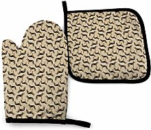 angdouou Brown German Shepard Dog Oven Mitts and