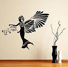 Angel Girl Wall Decal Flowers Elegant Wings Art