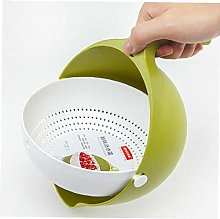 Angoter Double Drain Basket Bowl Rice Washing