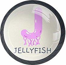 Animal Alphabet Series 3 Jellyfish Letter J Round