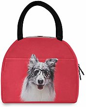 Animal Border Collie Dog Red Portable Lunch Bag