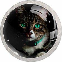 Animal Cat Crystal Glass Cabinet Dresser Knobs