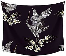 Animal Crane Flower Wall Tapestry Home Wall Decor