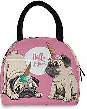 Animal Cute Dog Pug Pugicorn Portable Lunch Bag