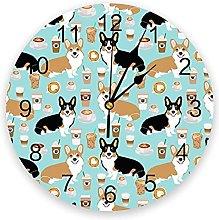 Animal Dog Corgi Drink Wall Clock Home Decor